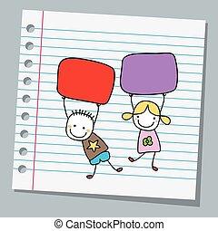 papier, notizbuch, kinder