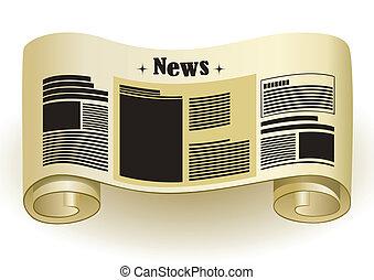 papier nouvelles, -, rouleau, vendange