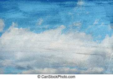 papier, nuages, fond, textured
