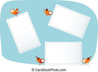 papier, oiseaux, listes, tenue
