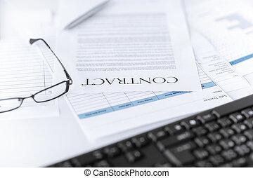 papier, ondertekeend, contracteren, bril