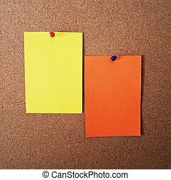 papier, op, corcboard