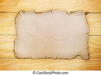 papier, op, houten raad