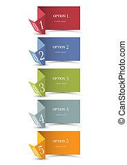 papier, origami, bannières, numéroté