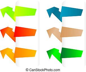 papier, origami, bannières, vecteur, ensemble