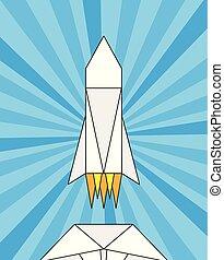 papier, origami, rakieta, szalupa