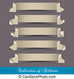 papier, origami, vector, set, ribbons-banners