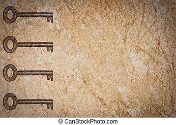 papier, oud, achtergrond, roestige , sleutels