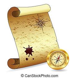 papier, oud, boekrol, kompas