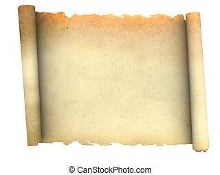 papier, oud, boekrol