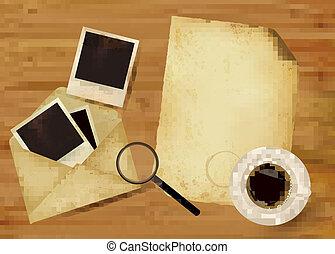 papier, oud, foto's, enveloppe