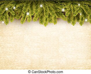 papier, oud, kerstmis, vector., achtergrond., versiering