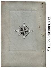 papier, oud, kompas