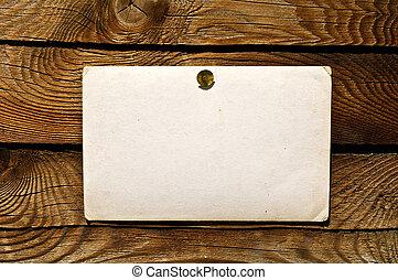 papier, oud, muur, houten