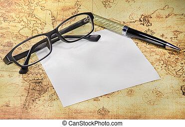 papier, oud, pen, brillen, wereldkaart
