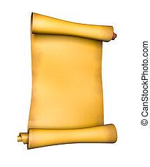 papier, oud, perkament, boekrol