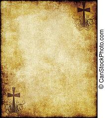 papier, oud, perkament, kruis