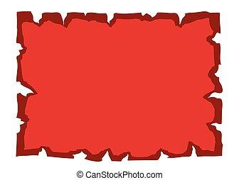 papier, oud, perkament, rood, leeg