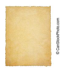 papier, ouderwetse , perkament, op wit