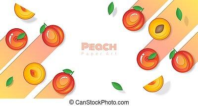 papier, owoc, świeży, 7, styl, tło, brzoskwinia, sztuka