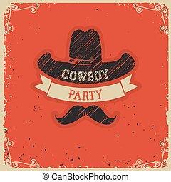 papier, party, hintergrund, cowboy, rotes