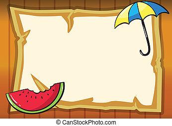 papier, pastèque, parapluie