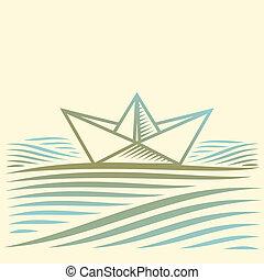 papier, paysage, bateau