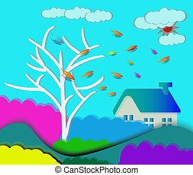 papier, paysage, coupure, automne, dehors