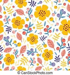 papier peint, été, vecteur, naturel, pré, plat, modèle, paper., emballage, seamless, illustration, arrière-plan., berries., usines, fleurir, floral, fleurs blanches, impression, toile de fond, tissu