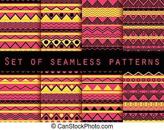 papier peint, ensemble, hippie, modèle, tribal, ethnique, seamless, texture, tissus, vecteur, lindu lit, backgrounds., tuiles, style., texture., illustration.