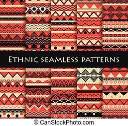 papier peint, ensemble, hippie, textiles, tribal, ethnique, seamless, lit, style., vecteur, lin, backgrounds., tuiles, tissus, illustration.