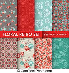 papier peint, ensemble, -, seamless, texture, motifs, vecteur, conception, retro, album, floral 8, fond