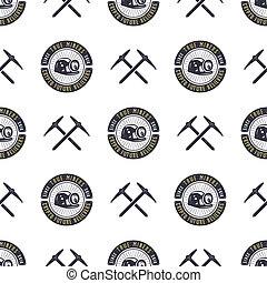 papier peint, exploitation minière, concept, biens, han, dessiné, isolated., vendange, concept., bitcoin, illustration, crypto, arrière-plan., pic, modèle, seamless, numérique, monochrome, design., stockage