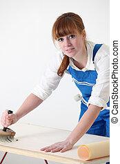 papier peint, femme, décorateur