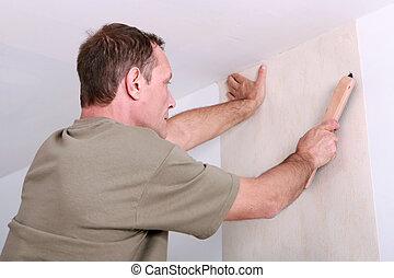 papier peint, homme, pendre