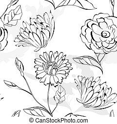 papier peint, seamless, floral