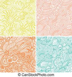 papier peint, toile, ensemble, fond, être, modèle, vagues, remplit, seamless, modèle, quatre, arrière-plan., hand-drawn, utilisé, vecteur, boîte, fond, magnifique, floral, page, textures.