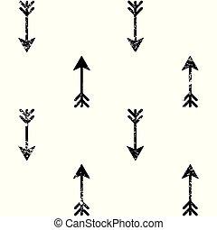 papier peint, vecteur, grunge, tribal, flèches, seamless, aztèque, indien, conception, modèle, art, blanc, navajo, noir