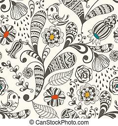 papier peint, vecteur, modèle, printemps, seamless