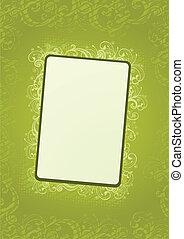 papier peint, vecteur, vert, floral