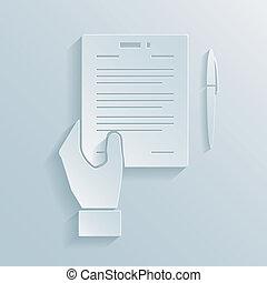 papier, pictogram, aanbod, zakelijk