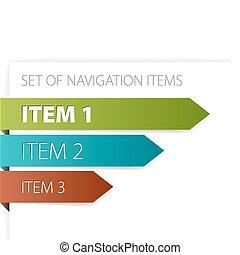 papier, pijl, -, moderne, navigatie, items