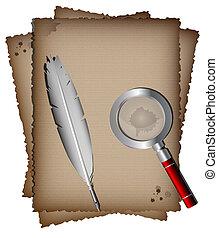 papier, plume blanche, vieux, magnifer