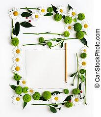 papier, potlood, frame, krans, flowers.