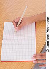 papier, potlood, vrouw, tekening