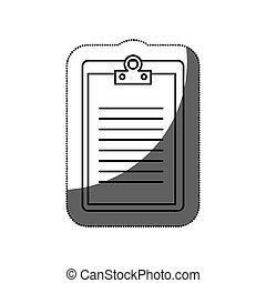 papier, presse-papiers, icône, isolé