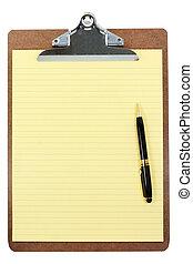 papier, presse-papiers, jaune