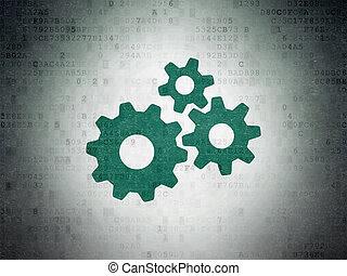 papier, publicité, fond, numérique, données, concept:, engrenages