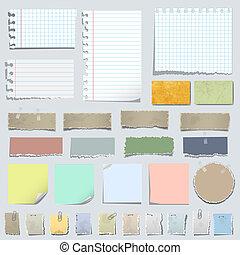 papier, różny, notatki, wektor, komplet