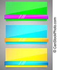 papier, ribbon., set, kleurrijke